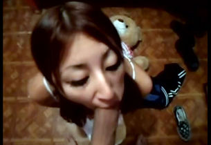Youngster asian gal inhaling ginormous..