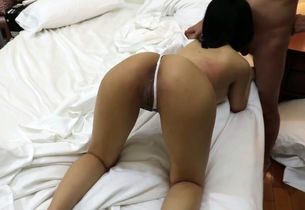 inked chinese gf with chubby backside..
